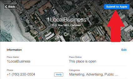 Verifying Carlsbad Businesses in Apple Maps Connect