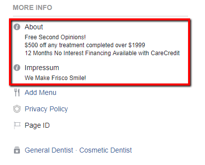 Facebook About Impressum Optimization Points