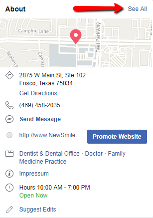 Local Business Facebook Optimize About Section