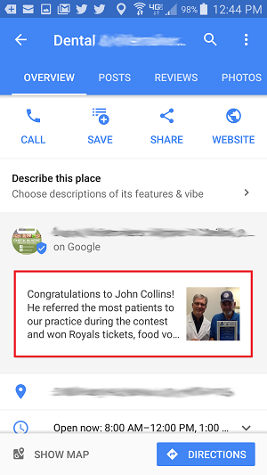 Google My Business Posts on Google Maps Mobile