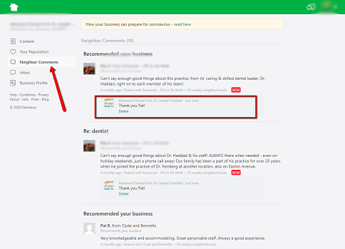 How Businesses Reply to Comments on Nextdoor